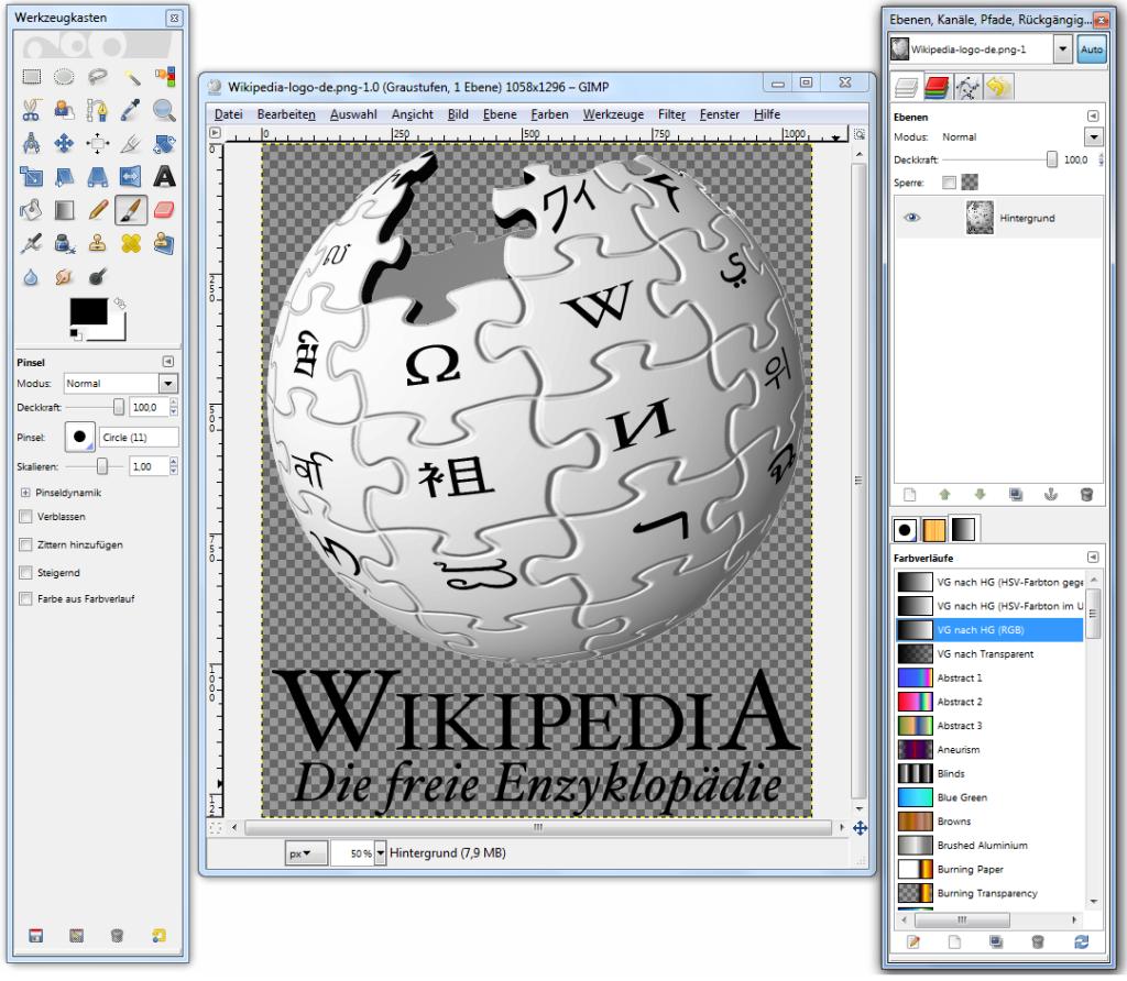 LogoWikipedi odtworzone w Gimpie